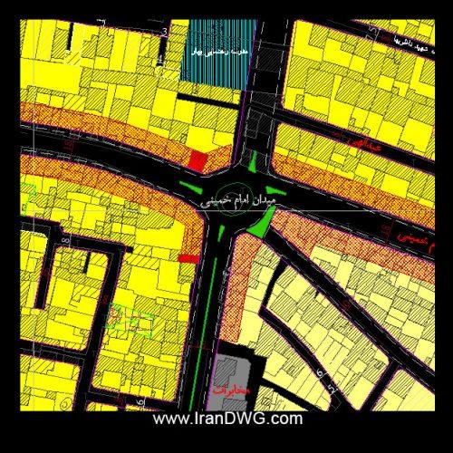 نقشه اتوکد جامع شهر قزوین با تمام جزییات قطعه بندی ، معابر ، مناطق و ...