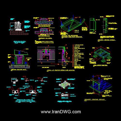 جزییات اجرایی اتوکد فونداسیون تجهیزات برقی و مکانیکی لرزان مانند پمپ ، دیزل و ... ( سقفی و زمینی )