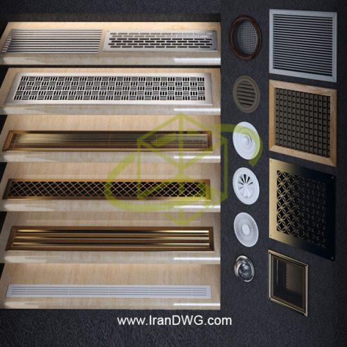 مجموعه آبجکت تری دی مکس دریچه تهویه هوا شماره 1