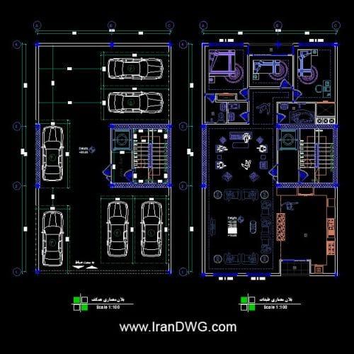 طراحی اجرایی پلان معماری 10 در 17 شمالی تک واحدی | پلان معماری طبقات و پارکینگ به همراه اندازه گذاری و مبلمان | دانلود نقشه و پلان اتوکد معماری طبقات و پارکینگ 10 در 17 به همراه اندازه گذاری و مبلمان