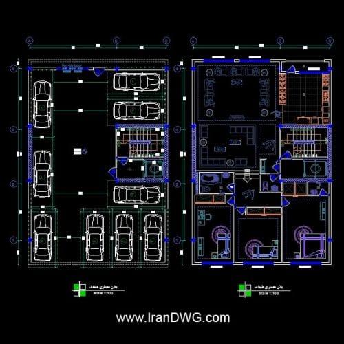 طراحی اجرایی پلان معماری 12 در 17 جنوبی تک واحدی | پلان معماری طبقات و پارکینگ به همراه اندازه گذاری و مبلمان | دانلود نقشه و پلان اتوکد معماری طبقات و پارکینگ 12 در 17 به همراه اندازه گذاری و مبلمان