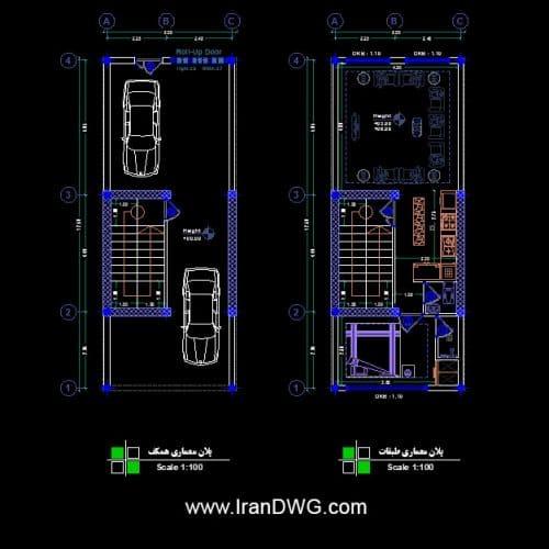طراحی اجرایی پلان معماری 5 در 12 جنوبی | پلان معماری طبقات و پارکینگ به همراه اندازه گذاری و مبلمان | دانلود نقشه و پلان اتوکد معماری طبقات و پارکینگ 5 در 12 به همراه اندازه گذاری و مبلمان