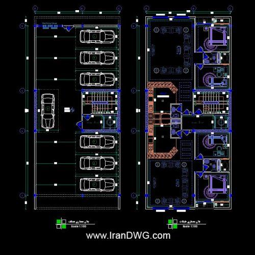 طراحی اجرایی پلان معماری ۱۰ در ۲۲ جنوبی دو واحدی شامل : پلان معماری طبقات و پارکینگ به همراه اندازه گذاری و مبلمان طراحی شده با استفاده از مجموعه بلاک مبلمان فول داینامیک طراحی شده توسط سامانه آنلاین طراحی ساختمان ایران | www.OnlineDWG.com مناسب برای شرکت های مشاور ، دفاتر مهندسی ، مهندسین ، دانشجویان و کارفرمایان محترم