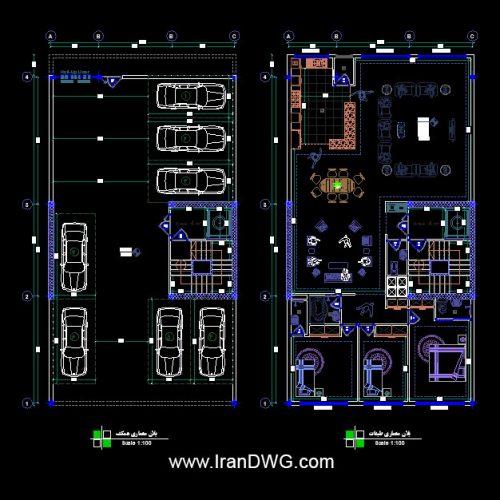 طراحی اجرایی پلان معماری 11 در 21 جنوبی | پلان معماری طبقات و پارکینگ به همراه اندازه گذاری و مبلمان | دانلود نقشه و پلان اتوکد معماری طبقات و پارکینگ 11 در 21 به همراه اندازه گذاری و مبلمان