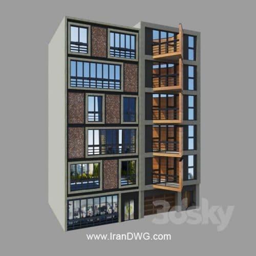 آبجکت تری دیمکس ساختمان همسایه به سبک مدرن شماره 4 به همراه متریال